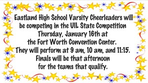 Eastland Cheerleaders UIL State Competition